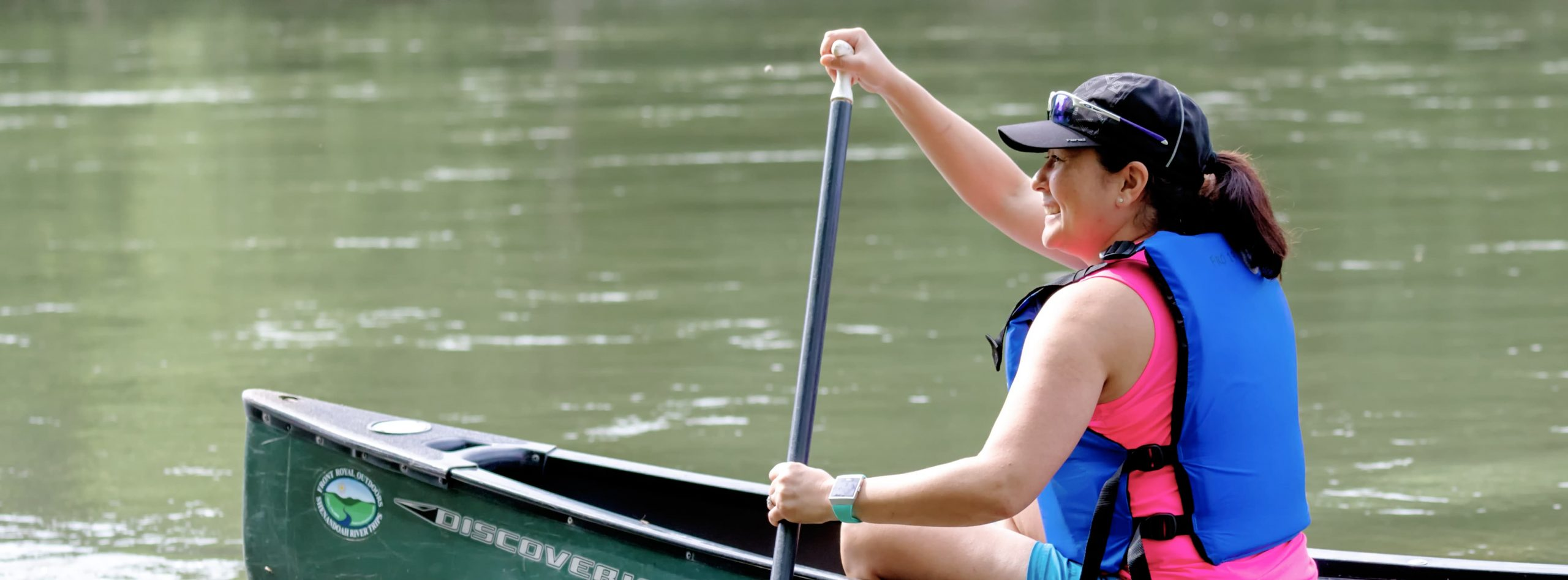 a woman canoeing in Virginia